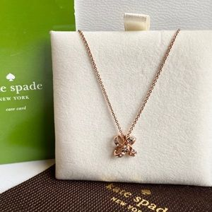 ♥️New KATE SPADE ♠️ Rose Gold Ribbon CZ Necklace